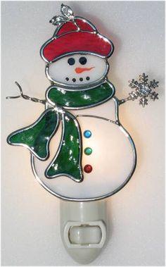 Stained glass Snowman Nightlight