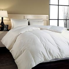 Upgrade your bed with this luxurious down comforter. This distinctive comforter is hypo-allergenic and features combed cotton fabric. Filled with Hungarian goose down, this item is sure to keep you extra warm during cold winter nights.