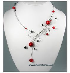 red black necklace fantasy necklace bridesmaids by creationtwinne, $45.00