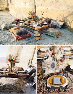 cute 'bohemian beach wedding shoot' on 'green wedding shoes'. Beach Wedding Tables, Bohemian Beach Wedding, Beach Wedding Decorations, Bohemian Style, Wedding Picnic, Boho Chic, Beach Weddings, Wedding Reception, Buffet Wedding