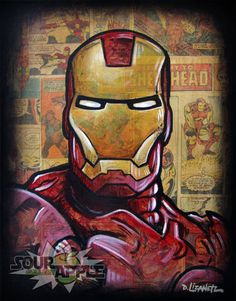 Iron Man Tony Stark Super Hero Artwork Signed by SourAppleGallery