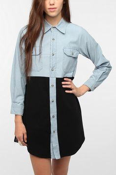 Urban Renewal Chambray and Jersey Dress  #UrbanOutfitters $59.00