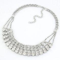 Luxurious Rhinestone Embedded Weaving Pattern Design Short Costume Necklace - Silver
