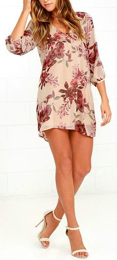 Lulus Exclusive! When it's time to shift your gears into glamour mode, the Shifting Dears Beige Floral Print Dress is our most dearly beloved dress! Beige chiffon with a rust red, orange, and sage green print forms a roomy shift silhouette with a deep, scoop neckline and a flared shape that flows into an asymmetrical, concave hemline. #lovelulus