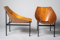 Hull Plywood Armchair, Designed by Charles Godillon in 1960 For Sale at 1stdibs