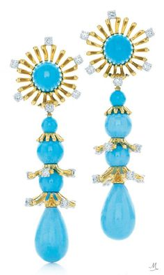 Turquoise Earrings, designed by Jean Schlumberger for Tiffany & Co , of 18 carat yellow gold, diamonds and turquoise. Photo: © Tiffany & CO