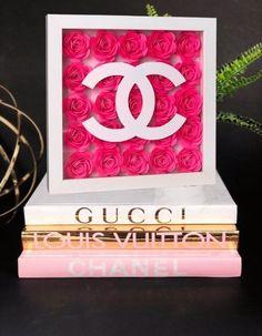 Chanel Room, Chanel Decor, Beauty Room Decor, Makeup Room Decor, Flower Shadow Box, Glamour Decor, Dollar Tree Decor, Vanity Decor, Idee Diy