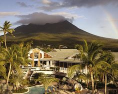 Nevis.  The Four Seasons Resort is pictured here.  This is where we celebrated our 10th anniversary! Beautiful!!