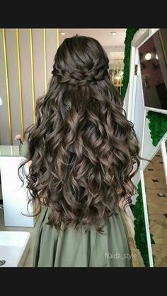 Balayage Hair Brunette With Blonde, Highlights Curly Hair, Cute Hairstyles Long, Quince Hairstyles, Beautiful Long Hair, Gorgeous Hair, Front Hair Styles, Curly Hair Styles, Wedding Hair Inspiration