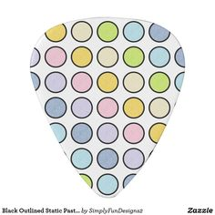 Black Outlined Static Pastel Rainbow Polka Dots Guitar Pick