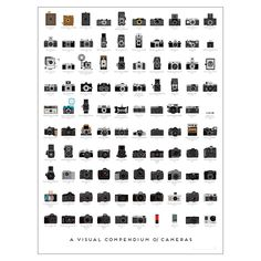 Improve your knowledge of the history of photography with this gorgeous Visual Compendium of Cameras poster from Pop Chart Lab. Perfect for use as a decorative wall display, this poster depicts 100 la
