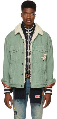 Gucci for Men Collection Corduroy Sherpa Jacket, Rain Jacket, Bomber Jacket, Gucci Outfits, Aqua, Couture, Military Jacket, Vintage Outfits, Jackets
