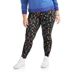 cb27f814f72 Faded Glory - Women s Plus Holiday Print Leggings - Walmart.com