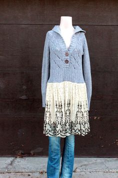 RevivaL Women's Upcycled Boho Sweater Hoodie Shabby by REVIVAL Sewing Clothes, Diy Clothes, Sweater Refashion, Sweater Hoodie, Hoodie Dress, Pullover Upcycling, Diy Fashion, Fashion Outfits, Altered Couture