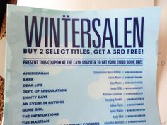"""""""Wintersalen""""--with umlautted T--at Powell's Books, Portland."""