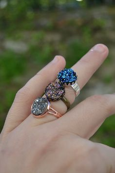 Anillos de druzy: negro druzy anillo anillo druzy por ValkyriesSong