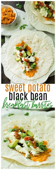Healthy breakfast burritos stuffed with sweet potatoes, black beans, egg whites, and avocado. You're going to love this easy protein-packed breakfast! #allwhiteseggwhites #ad