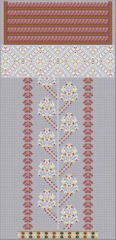 """Схема нарукавної композиції стародавньої жіночої сорочки з Буковини. Використані шви: пряма і коса лиштва, зерновий вивід, вертикальна мережка """"коробочкою"""" (цирка), штапівка, косий хрестик, тамбур, шиття бісером."""