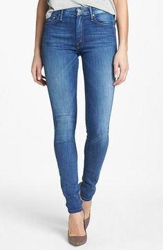 Mother 'The Looker' High Rise Skinny Jeans (Devil in a Blue Suit)