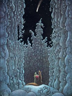 A winter night's sky ~ artist Swedish illustrator Lennart Helje  #art #illustration #tomte #nisse #gnome #winter #fox #night_sky #myt Winter Painting, Winter Art, Winter Illustration, Children's Book Illustration, Fantasy Forest, Fantasy Art, Mushroom Art, Fairy Pictures, Faeries