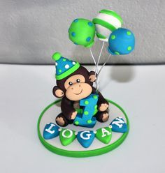 LARGE Monkey Custom Cake Topper for Birthday or Baby by carlyace, $34.95