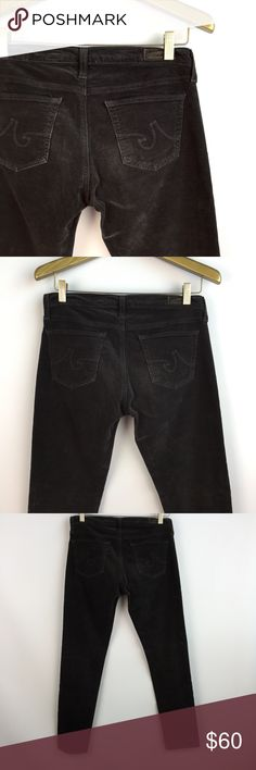 AG ADRIANO GOLDSCHMIED The Stevie Skinny Cords 28 AG ADRIANO GOLDSCHMIED Cords The Stevie - Slim / Straight Ankle style Size 28 Charcoal grey/ dark brown color Gently preowned with no major signs of wear  15.5 inches across waist 8 inch rise 28 inch inseam 5.5 inch leg opening Ag Adriano Goldschmied Jeans Skinny