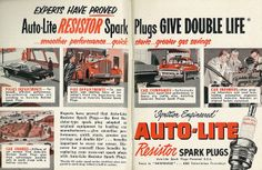 1952 Illustrated Ad Car Accessory, Auto-Lite Resistor Spark Plugs (2-Page Advert) | Flickr - Photo Sharing!