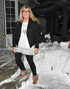 Leather leggings from Shop Svelte, tassel necklace from 7 charming sisters and a fun lace tunic