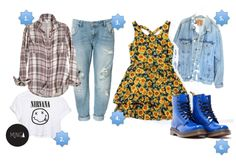 90s fashion sunflower sunflowers plaid nirvana light wash denim tshirt jeans blue gold
