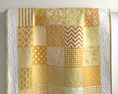 Modern Patchwork Baby Girl Quilt Sunshine Sampler Shades of Yellow and White