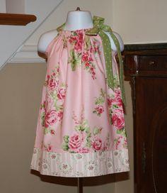 Easter roses Pillowcase dress for toddler baby girls pink, rose, green polka dot,  toddler dress 3, 6, 9, 12, 18 mo 2t, 3t, 4T on Etsy, $19.99