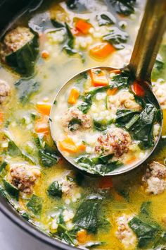 Italian Wedding Soup is warm and comforting and filled with tender chicken meatballs, carrots, spinach, and acici de pepe. This classic Italian soup will become and instant family favorite! We love a good warm bowl of soup at our house. This soup is full Bowl Of Soup, Soup And Salad, Soup Bowls, Tasty Meatballs, Chicken Meatballs, Turkey Meatballs, Chicken Meatball Soup, Chicken Sausage, Chicken Soups