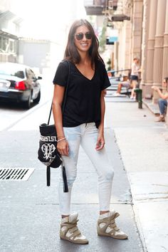 Alyson in 7 For All Mankind skinnies, Isabel Marant sneakers, and a J.Crew tee #streetstyle- I like everything but the sneaks lol