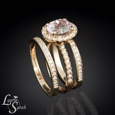 Propose to her with this Beautiful Oval Pink Sapphire Ring with Two Diamond by LaurieSarahDesigns, $7270.50