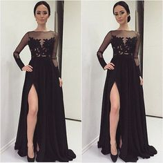 Find More Prom Dresses Information about Fashion neck lace sheer long sleeves sexy long high split prom dresses black chiffon prom evening dresses for plus size women,High Quality dress white dress,China dress ruffle Suppliers, Cheap dress butterflies from Ice-Beauty-Dresses on Aliexpress.com