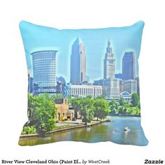 River View Cleveland Ohio (Paint Effect) Pillow
