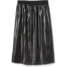 Metallic pleated midi skirt (115 PEN) ❤ liked on Polyvore featuring skirts, pleated midi skirt, knee length pleated skirt, mid-calf skirts, pleated skirt and metallic skirt