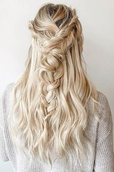 wedding updos with braids loose soft braid in half up half down barefootblondehair via instagram