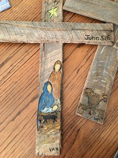 Wood cross - painted nativity