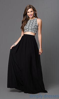 Shop two-piece prom dresses and high-neck formal gowns at Simply Dresses. Backless evening dresses and wedding-guest dresses for parties.