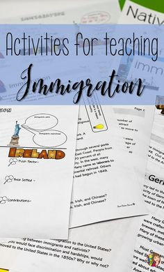 Allow your students to learn about immigration to the US in a fun activity. It has been modified for your ELL students. Map Activities, Vocabulary Activities, Hands On Activities, 5th Grade Social Studies, Social Studies Classroom, Ell Students, High School Students, Effective Leadership, Secondary Source