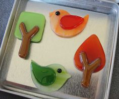 Fused Glass Bird and Tree Magnet Set by artisticflair on Etsy, $26.00