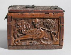 Coffret Date: late 15th century Geography: Made in Upper Rhineland, Germany Culture: German Medium: Maple Dimensions: Overall: 3 7/8 x 7 7/8 x 5 1/2 in. (9.8 x 20 x 14 cm) Classification: Woodwork-Furniture Credit Line: The Cloisters Collection, 1955