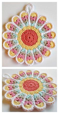Crochet Flower Pot Holder Flower Potholders Free Crochet Pattern - If you love crochet, you don't need to buy a plain old pot holder. You can crochet flower pot holder, which makes a great housewarming gift. Crochet Flower Tutorial, Easy Crochet Patterns, Crochet Designs, Crochet Flowers, Pattern Flower, Crochet Sheep, Crochet Mandala, Tapestry Crochet, Crochet Gifts
