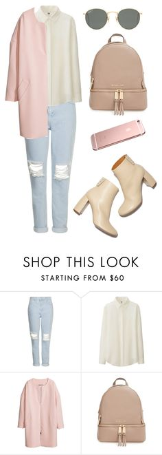 pink by horvat-rea on Polyvore featuring moda, Topshop, Uniqlo, H&M, MICHAEL Michael Kors, STELLA McCARTNEY, Ray-Ban, GetTheLook, ootd i contestentry