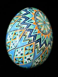 Austin Artist Katy David does amazing Pysanky eggs. Her blog details each egg design: http://katyegg.blogspot.com/  Her flicker stream has tons of photos: http://www.flickr.com/photos/katyegg/