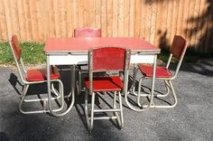 Vtg 40s Formica Table 4 Chairs Set Mid Century Modern Dining Dinette Art Deco