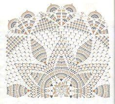 Crochet Stitches Chart, Crochet Doily Diagram, Crochet Flower Patterns, Thread Crochet, Crochet Motif, Free Crochet, Knit Crochet, Crochet Dollies, Pineapple Crochet
