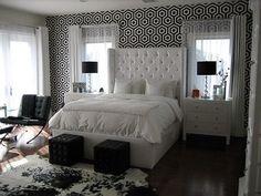 Suzie: Walnut Wallpaper - Black & white bedroom with Tres Tintas Barcelona Wallpaper accent ...