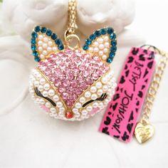 Rare~ Betsey Johnson Pink Kitty Cat Rhinestone necklace & free Gift $7.99 #BetseyJohnson #Chain